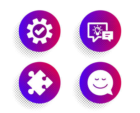 Illustration for Idea lamp, Service and Strategy icons simple set. Halftone dots button. Smile sign. Business energy, Cogwheel gear, Puzzle. Chat emotion. Technology set. Classic flat idea lamp icon. Vector - Royalty Free Image