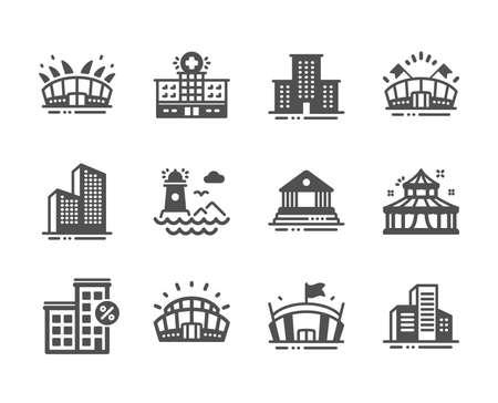 Photo pour Set of Buildings icons, such as Skyscraper buildings, Lighthouse, Sports arena, Arena, Sports stadium, Hospital, Loan house, Circus, Court building, University campus icons. Vector - image libre de droit
