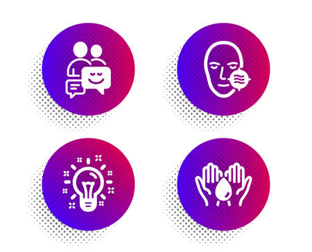 Idea, Problem skin and Communication icons simple set. Halftone dots button. Safe water sign. Creativity, Facial care, Business messages. Hold drop. Business set. Classic flat idea icon. Vector