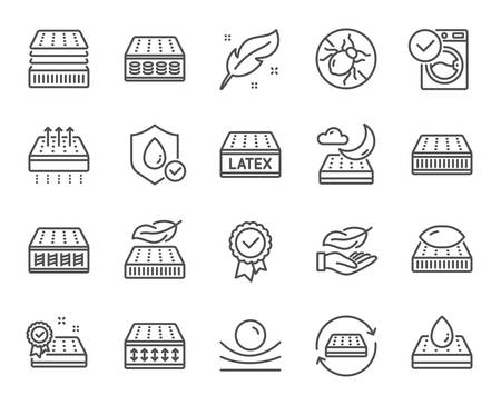 Illustration pour Mattress line icons. Breathable, washable, latex. Memory foam, pillow, bed tick icons. Light weight, natural material, pocket sprung mattress. Bed mite, antiallergic latex. Vector - image libre de droit