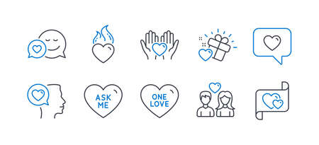 Set of Love icons, such as Ask me, Hold heart, Romantic talk, Love message, Couple love, Dating, Heart flame line icons. Friendship, Dating service. Line ask me icon. Vector