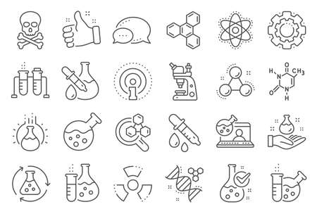 Chemistry lab line icons. Chemical formula, Microscope and Medical analysis. Laboratory test flask, reaction tube, chemistry lab icons. Microscopic research, toxic radiation. Line signs set. Vector