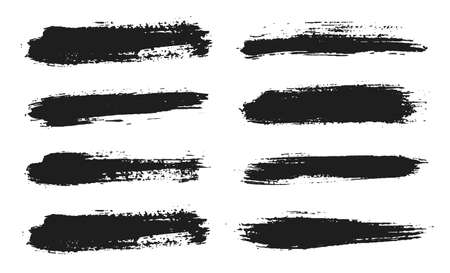 Ilustración de Brush lines set. Vector black paint, ink brush stroke. Dirty artistic design element. Black ink painbrush dash. Grunge drawing stroke. Frame or background for text. Vector set - Imagen libre de derechos