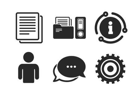 Human silhouette, cogwheel gear and documents folders signs symbols. Chat, info sign. Accounting workflow icons. Classic style speech bubble icon. Vector