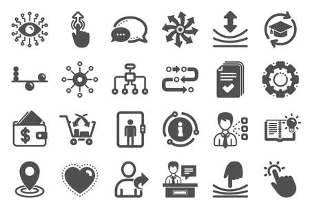 Illustration pour Artificial intelligence, Balance and Refer a friend icons. Continuing education, Methodology and Exhibitors signs. Swipe up, Elastic and artificial intelligence icons. Vector - image libre de droit