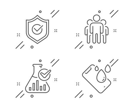 Illustration pour Group, Chemistry lab and Approved shield line icons set. Smartphone waterproof sign. Managers, Laboratory flask, Protection. Phone. Technology set. Line group outline icon. Vector - image libre de droit