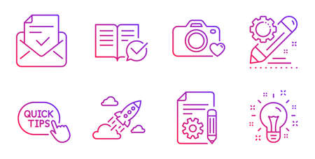 Approved mail, Quick tips and Approved documentation line icons set. Documentation, Photo camera and Project edit signs. Startup rocket, Idea symbols. Confirmed document, Helpful tricks. Vector