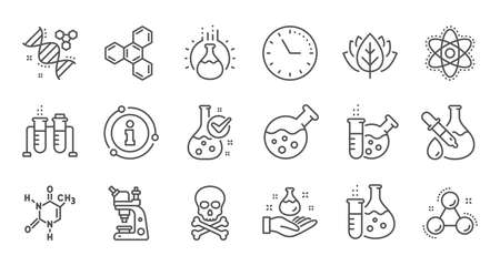 Chemistry lab line icons. Chemical formula, Microscope and Medical analysis. Laboratory test flask, reaction tube, chemistry lab icons. Linear set. Quality line set. Vector