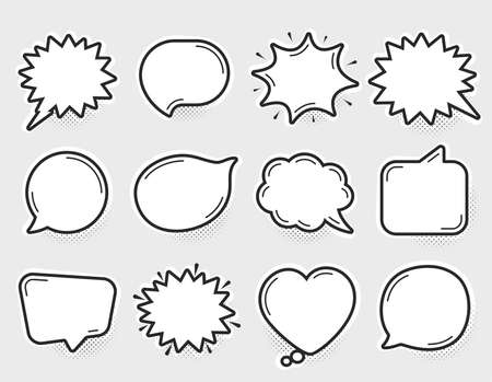Illustration pour Comic speech bubbles vector. Thinking and speaking clouds. Retro bubbles shapes. Balloons with halftone shadow. Vintage pop art style design. Comic graphic elements. Cartoon badge. Vector balloons - image libre de droit