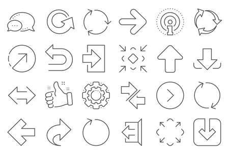 Illustration pour Share arrow icons. Set of Download, Synchronize and Recycle icons. Undo, Refresh and Login symbols. Sign out, download and Upload. Universal arrow elements, share, synchronize sign. Vector - image libre de droit