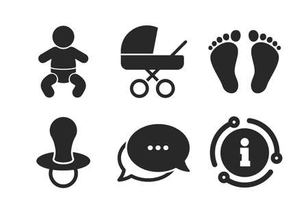 Illustration pour Toddler boy with diapers symbol. Chat, info sign. Baby infants icons. Buggy and dummy signs. Child pacifier and pram stroller. Child footprint step sign. Classic style speech bubble icon. Vector - image libre de droit