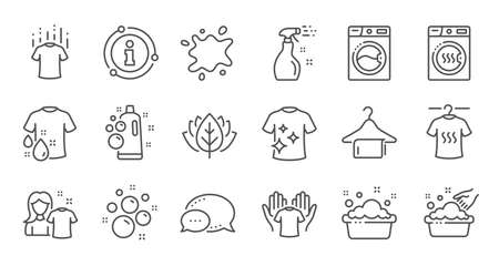 Illustration for Laundry line icons. Dryer, Washing machine and dirt shirt. Hand washing, laundry service icons. Linear set. Quality line set. Vector - Royalty Free Image