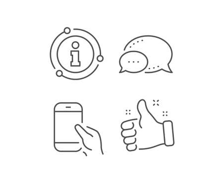 Ilustración de Hold Smartphone icon. Chat bubble, info sign elements. Give Cellphone or Phone sign. Ð¡ommunication Mobile device symbol. Linear hold Smartphone outline icon. Information bubble. Vector - Imagen libre de derechos