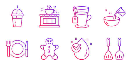 Illustration pour Water drop, Cooking water and Coffee cocktail line icons set. Restaurant food, Tea and Coffee shop signs. Gingerbread man, Cooking cutlery symbols. Clean aqua, Glass. Food and drink set. Vector - image libre de droit