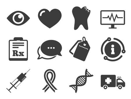 Illustration pour Tooth, syringe and ambulance signs. Discount offer tag, chat, info icon. Medicine, healthcare and diagnosis icons. Dna, awareness ribbon symbols. Classic style signs set. Vector - image libre de droit
