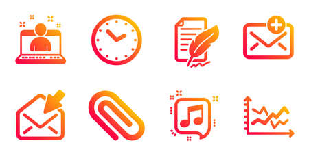 Ilustración de Time, Paper clip and Feather signature line icons set. New mail, Musical note and Best manager signs. Open mail, Diagram chart symbols. Clock, Attach paperclip. Education set. Vector - Imagen libre de derechos