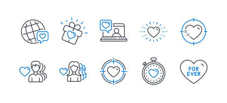 Set of Love icons, such as Love gift, Heart, Valentine target, Heart target, World brand, Heartbeat timer, Woman love, Friends chat, For ever line icons. Romantic people. Line love gift icon. Vector