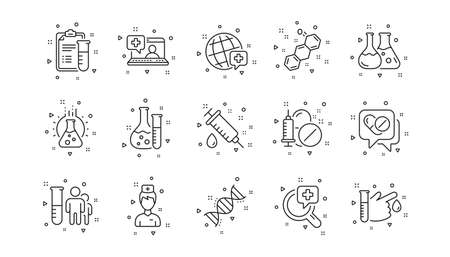 Drug testing, scientific discovery and disease prevention icons. Medical healthcare, doctor line icons. Chemical formula, chemistry testing lab. Linear set. Geometric elements. Vector