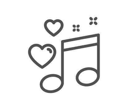 Illustration pour Love music line icon. Romantic musical note sign. Couple relationships symbol. Quality design element. Editable stroke. Linear style love music icon. Vector - image libre de droit