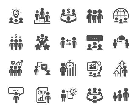 Illustration for Meeting icons. Conference, seminar, classroom. Team, work and business idea icons. Discussion, classroom job, people management. Presentation, office meeting, consultation. Vector - Royalty Free Image