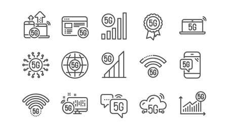 Illustration pour 5G technology line icons set. Phone connection, mobile network, fast internet. Hotspot signal, mobile telecommunications, wifi internet icons. 5G cellular network technology. Linear set. Vector - image libre de droit