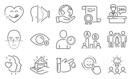 Illustration pour Set of People icons, such as Yummy smile, Face recognition. Diploma, ideas, save planet. Skin care, Face id, Partnership. Smile, Farsightedness, Heart. Vector - image libre de droit