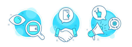 Ilustración de Touchscreen gesture, Money wallet and Cogwheel line icons set. Handshake deal, research and promotion complex icons. Smartphone charging sign. Zoom in, Payment method, Engineering tool. Vector - Imagen libre de derechos