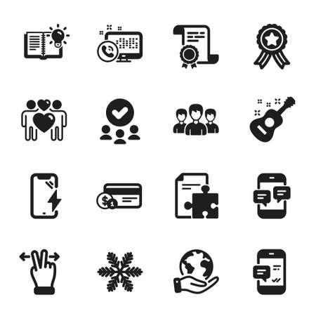 Ilustración de Set of Business icons, such as Snowflake, Smartphone charging. Certificate, approved group, save planet. Smartphone notification, Phone messages, Guitar. Vector - Imagen libre de derechos