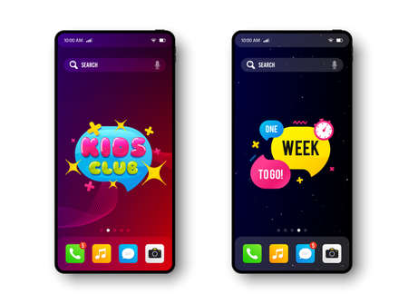 Illustration pour One week to go and Kids club. Smartphone screen banner. Discount offer badge. Mobile phone screen interface. Smartphone display promotion template. Online application banner. Vector - image libre de droit