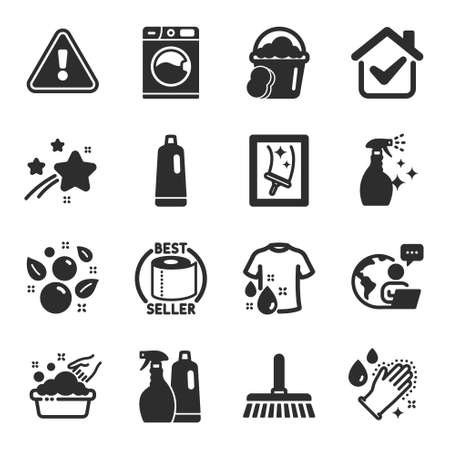 Illustration pour Set of Cleaning icons, such as Shampoo, Window cleaning, Cleaning mop symbols. Washing machine, Toilet paper, Clean bubbles signs. Shampoo and spray, Hand washing, Sponge. Wash t-shirt. Vector - image libre de droit