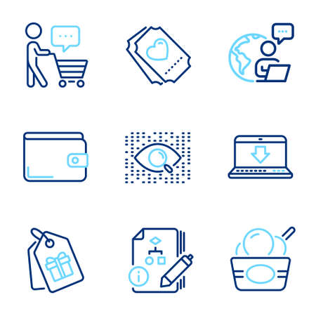 Business icons set. Included icon as Artificial intelligence, Internet downloading, Coupons signs. Ice cream, Buyer think, Algorithm symbols. Love ticket, Money wallet line icons. Vector