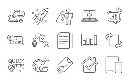 Illustration pour Marketing, E-mail and Online accounting line icons set. Copy documents, Quick tips and Website education signs. Consulting business, Report diagram and Statistics timer symbols. Line icons set. Vector - image libre de droit