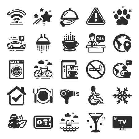 Illustration for Hotel service icons. WiFi, Air conditioning and Coffee maker machine. Spa stones, swimming pool and bike rental icons. Hotel parking, safe and shower. Food, coffee cup. Flat icon set. Vector - Royalty Free Image