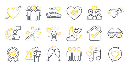 Illustration pour Set of Love icons, such as Love night, Update relationships, Love music symbols. Champagne glasses, Friendship, Honeymoon travel signs. Friends couple line icons. Line icons set. Vector - image libre de droit