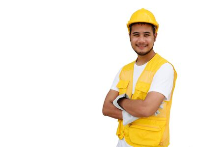 Photo pour Arab Construction beard worker with yellow safety helmet isolated on white background with copy space for text. Portrait of happy foreman man smiling. Heavy industry and business concept. - image libre de droit