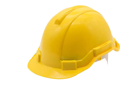 Photo pour Yellow hard hat or helmet isolated on white background. Industrial workers or construction site safety equipment concept. - image libre de droit