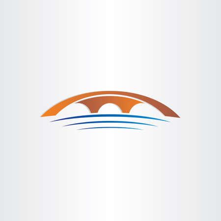 bridge and river stylized symbol design