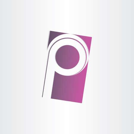 letter p purple vector sign design