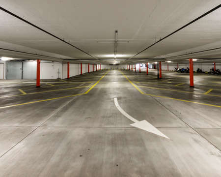 Photo for Empty illuminated undeground car park wide angle shot 2019 - Royalty Free Image