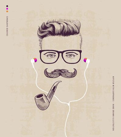 Ilustración de hipster with smoking pipe and earphones - Imagen libre de derechos