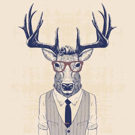 Ilustración de illustration of deer dressed up like business man in vest and tie - Imagen libre de derechos