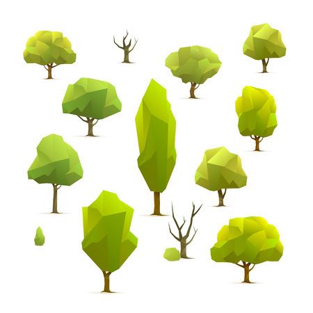 set of polygonal geometric trees, illustration