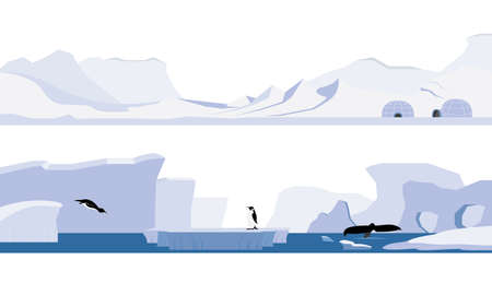 Set ofArctic and Antarctica