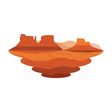 Illustration pour Monument Valley Sandstone Mountain Desert Landscape Vector Set 2 - image libre de droit