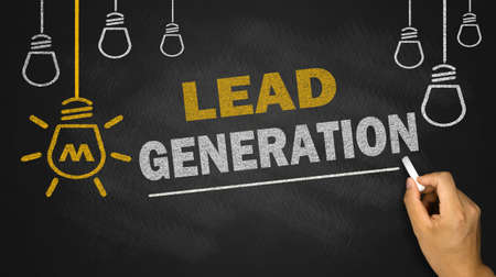 lead generation on blackboard background