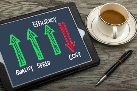quality speed efficiency up cost down concept on tablet pc
