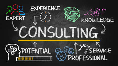 Foto de consulting concept chart with business elements on blackboard - Imagen libre de derechos