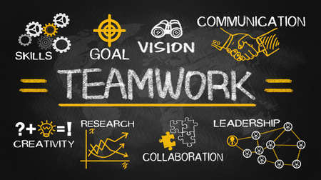 Foto de teamwork concept chart with business elements hand drawn on blackboard - Imagen libre de derechos
