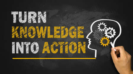 Photo for turn knowledge into action concept on blackboard - Royalty Free Image