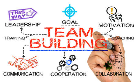 Photo for team building concept drawn on white background - Royalty Free Image
